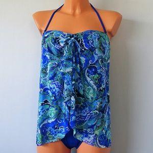 Ralph Lauren 1 Pc Blue Paisley Flyaway Swimsuit